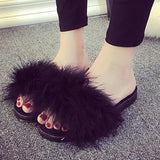 Favolook Black Fluffy Sliders Sliders Flip Flops For Women