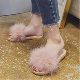 FeiYiTu Pink Fluffy Slides Fluffy Sliders For Women