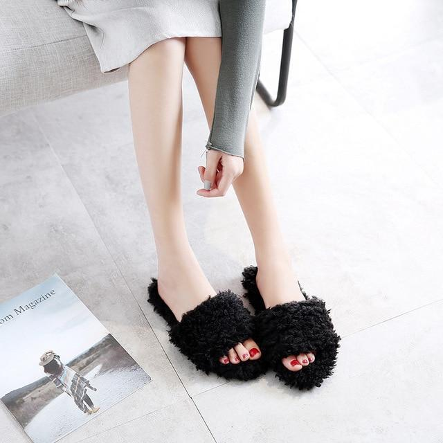 Halluci Black Furry Slippers Flip Flops For Women