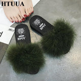 HTUUA Army Green Fluffy Fur Platform Sliders For Women