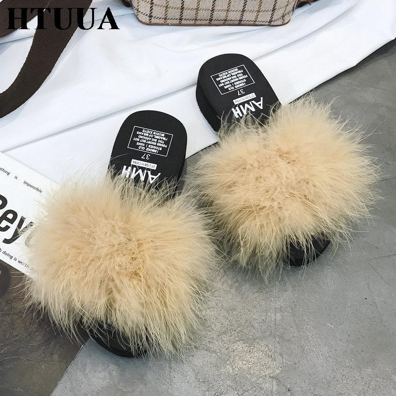 HTUUA Beige Cream Fluffy Fur Platform Sliders For Women