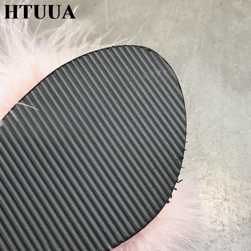 HTUUA Grey Fluffy Fur Platform Sliders Summer For Women