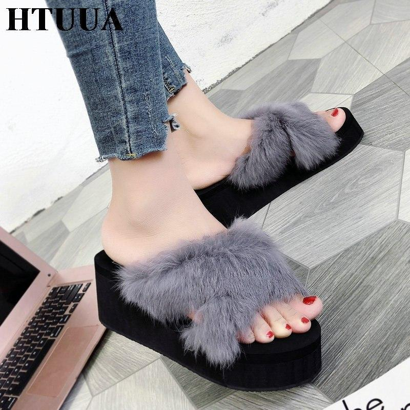 HTUUA Grey Fluffy Fur Wedges For Women