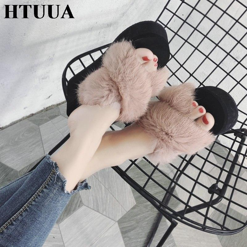HTUUA Khaki Brown Fluffy Fur Wedges For Women