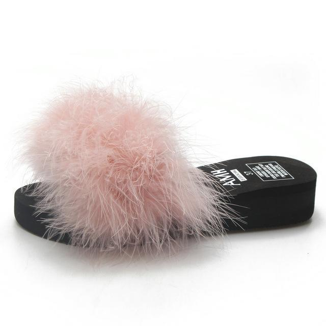 HTUUA Pink Fluffy Fur Platform Sliders For Women