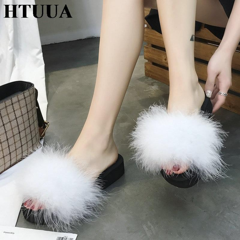 HTUUA White Fluffy Fur Platform Sliders For Women