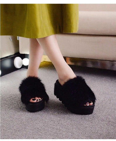 Hung Yau Black Fluffy Wedge Sliders Furry Platform For Women