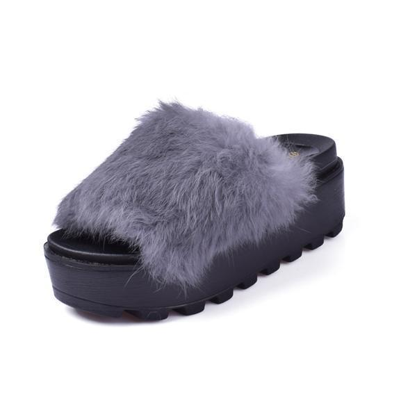 Hung Yau Grey Fluffy Wedge Sliders Furry Platform For Women