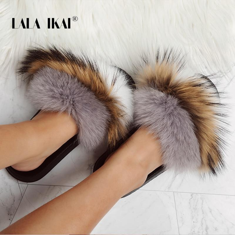 LALA IKAI Furry Slides Brown Grey White Fur Slides For Ladies