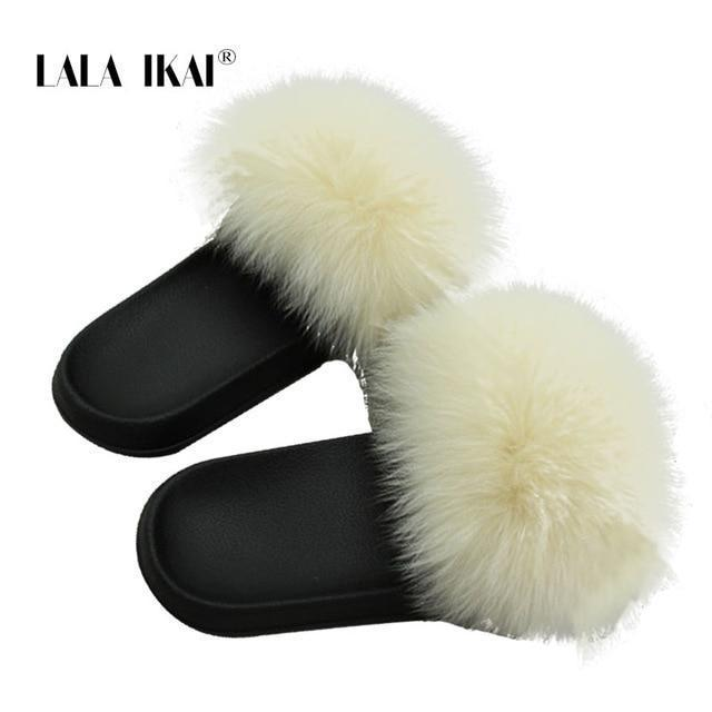 LALA IKAI Furry Slides Yellow Lemon Fur Slides For Ladies