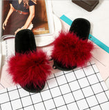 MAGNOLIAFRAGRANT Faux Fur Burgundy Sliders Furry For Women