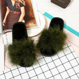 MAGNOLIAFRAGRANT Faux Fur Sliders Army Green Plush For Women