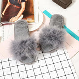 MAGNOLIAFRAGRANT Furry Faux Sliders Grey Plush For Women
