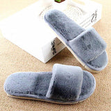 MOSHU Faux Furry Slippers Grey Comfortable Flip Flops For Women