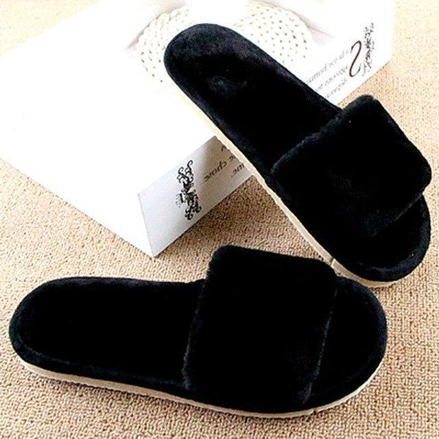 MOSHU Furry Slippers Black Comfortable Flip Flops For Women