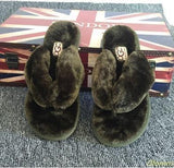 OLOMM Army Green Fluffy Slippers For Women