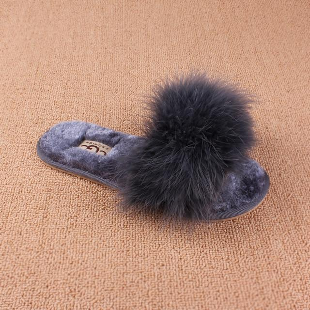 OLOMM Dark Grey Fluffy Slippers For Women