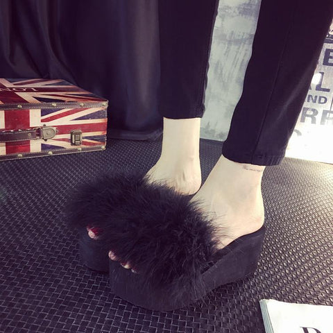 OLOMM Fluffy Black Slides Furry Ostrich Feather Wedges For Women