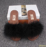 OLOMM Fluffy Black Slippers For Women