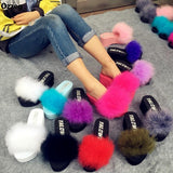 OLOMM Fluffy Slides Red Furry Ostrich Feather Wedges For Women