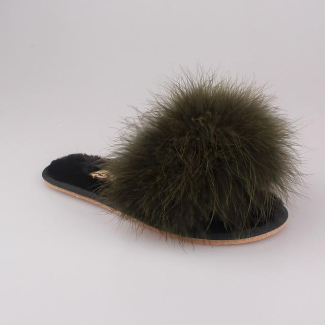 OLOMM Fluffy Slippers Army Green For Women