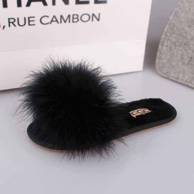 OLOMM Fluffy Slippers Black For Women