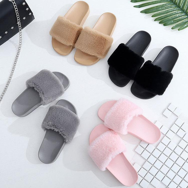 OLOMM Fur Slides Pink Warm Slip Fur Slippers For Women