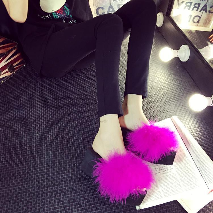 OLOMM Fuzzy Slides Rosy Red Ostrich Feather Wedges For Women