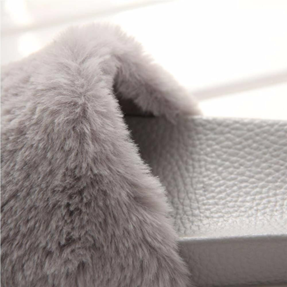 OLOMM Grey Fur Slides Fluffy Warm Slip Slippers For Women