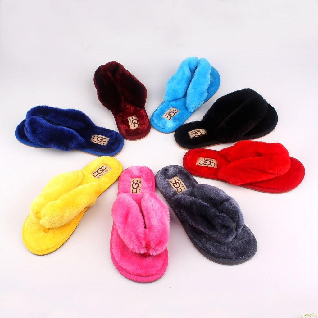 OLOMM Lime Green Fluffy Slippers For Women