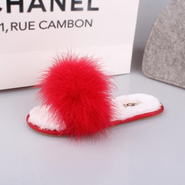 OLOMM Red White Fur Slippers Fluffy For Women