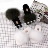 OLOMM Red Wine Fluffy Slippers For Women