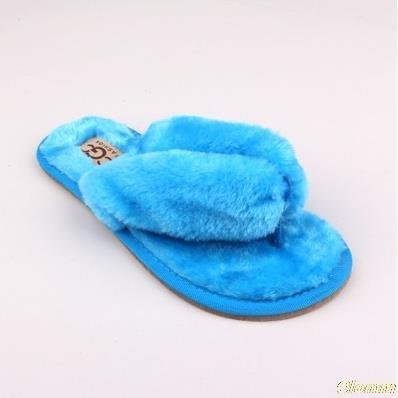 OLOMM Sky Blue Fluffy Slippers For Women