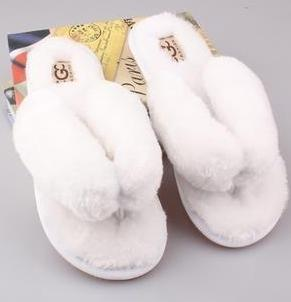 OLOMM White Fluffy Slippers For Women