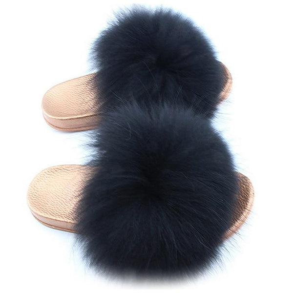 One Bling Black Fuzzy Faux Fur Sliders Gold Sole For Women