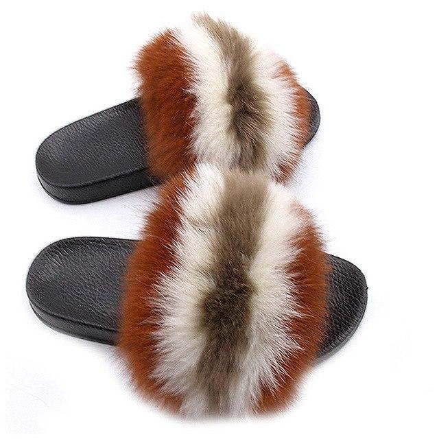 One Bling Brown Cream Fuzzy Sliders Plus Size For Women