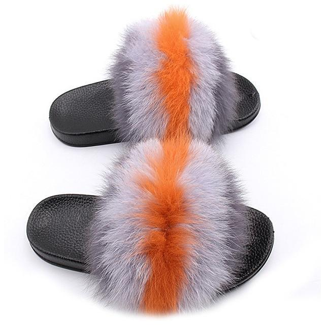 One Bling Grey Orange Fuzzy Sliders Plus Size For Women