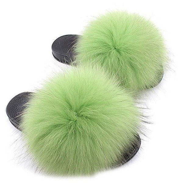 One Bling Light Green Fluffy Sliders Plus Size Flip Flops for Women