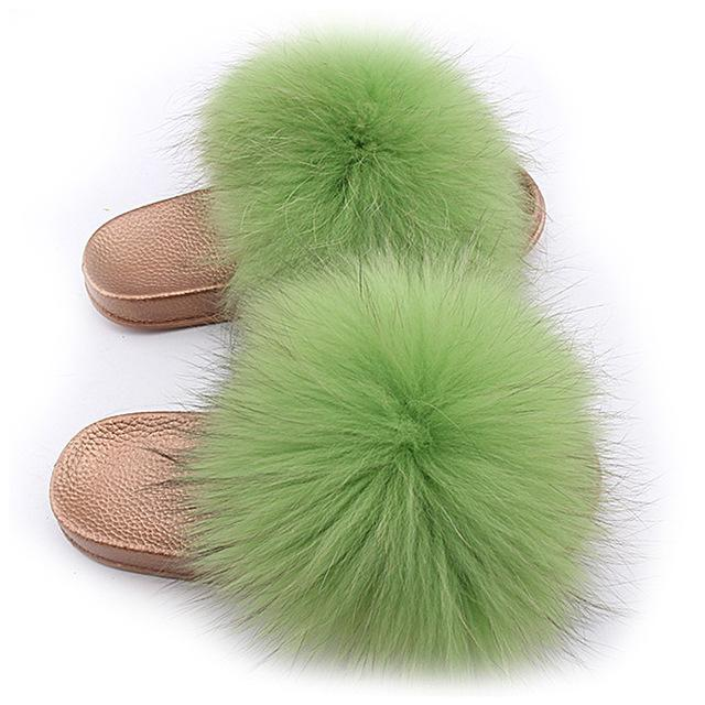 One Bling Light Green Fuzzy Faux Fur Sliders Gold Sole For Women