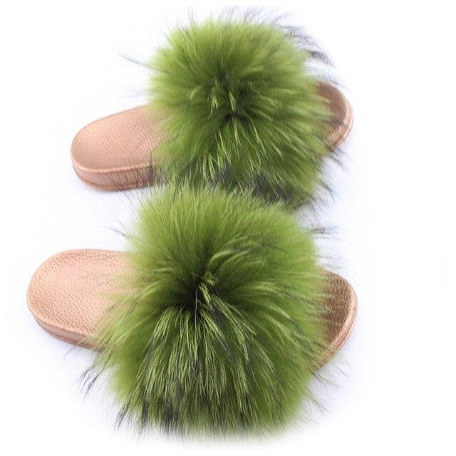 One Bling Olive Green Fuzzy Faux Fur Sliders Gold Sole For Women
