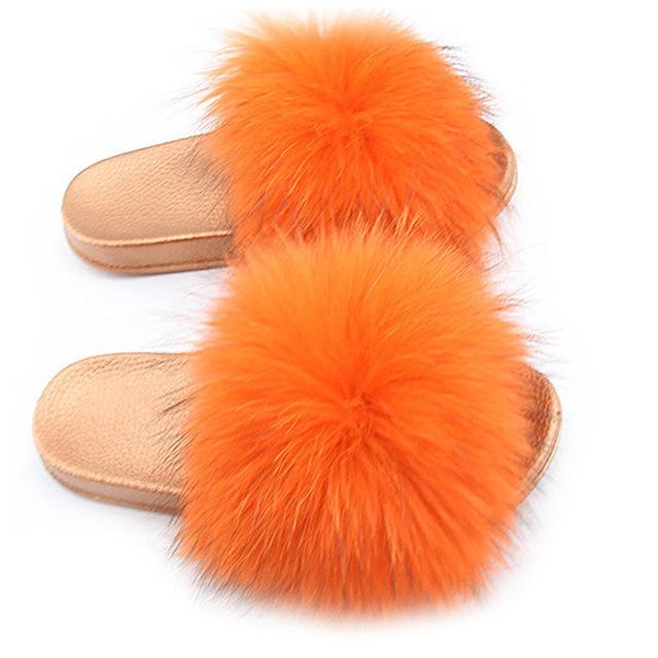 One Bling Orange Fuzzy Faux Fur Sliders Gold Sole For Women
