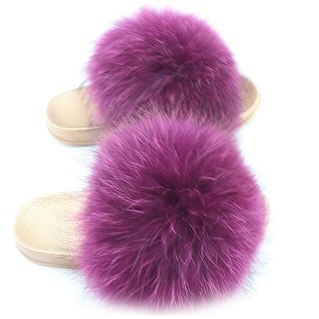 One Bling Purple Fuzzy Faux Fur Sliders Gold Sole For Women