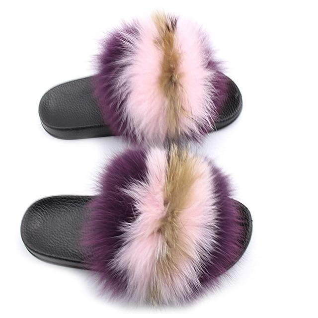One Bling Purple Pink Brown Fuzzy Sliders Plus Size For Women