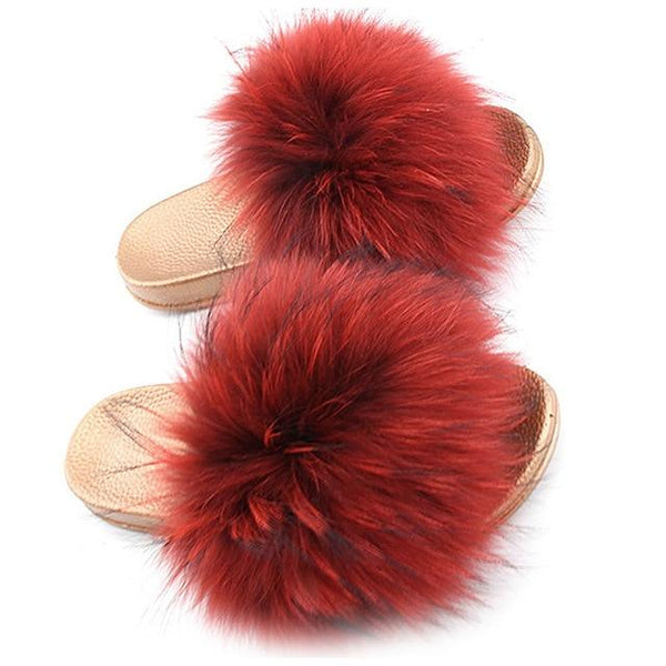 One Bling Red Fuzzy Faux Fur Sliders Gold Sole For Women