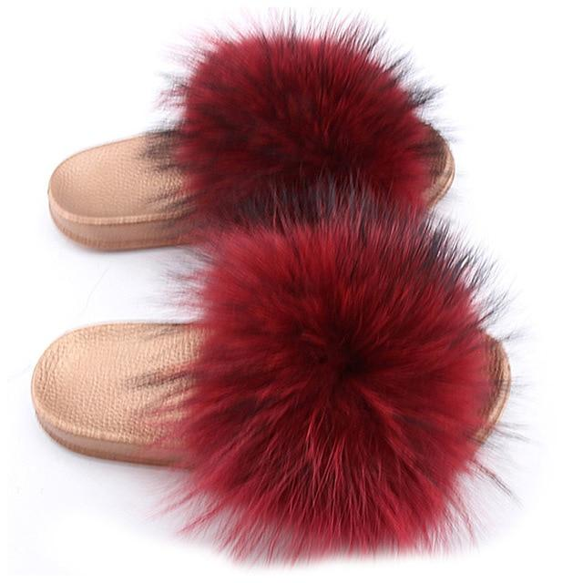 One Bling Red Wine Fuzzy Faux Fur Sliders Gold Sole For Women