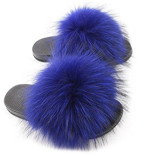 One Bling Royal Blue Fluffy Sliders Plus Size Flip Flops for Women
