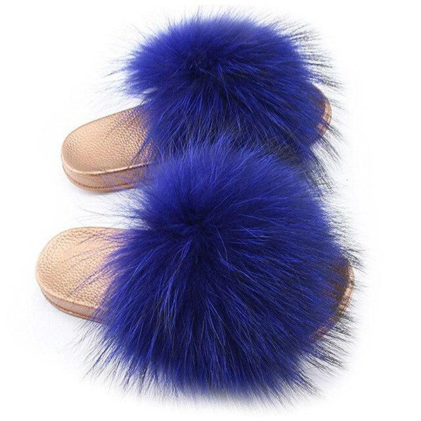 One Bling Royal Blue Fuzzy Faux Fur Sliders Gold Sole For Women