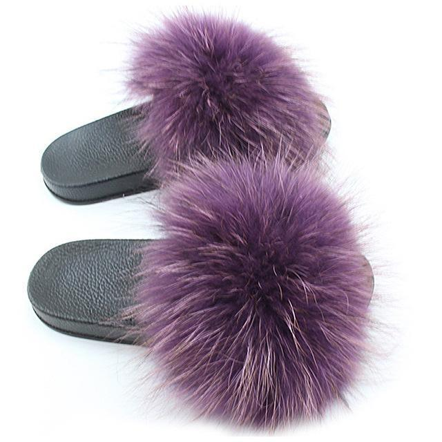 One Bling Violet Fluffy Sliders Plus Size Flip Flops for Women