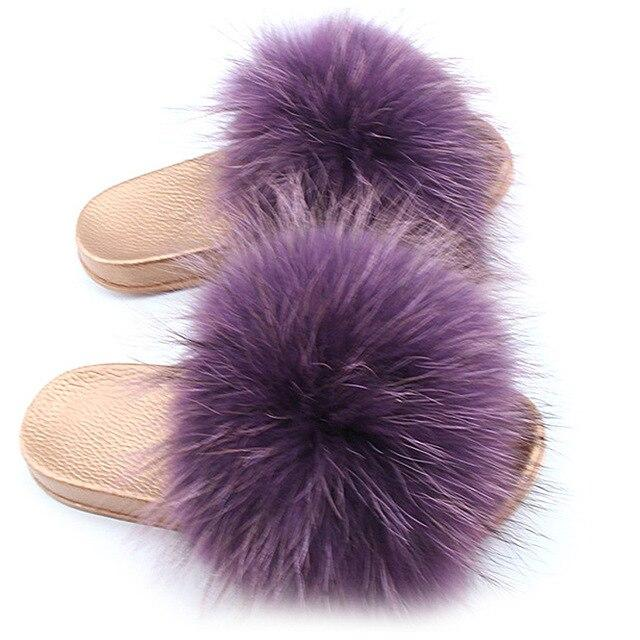 One Bling Violet Purple Fuzzy Faux Fur Sliders Gold Sole For Women