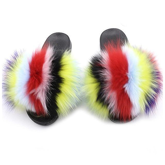 One Bling Yellow Black Red Pink White Fuzzy Sliders Plus Size Women